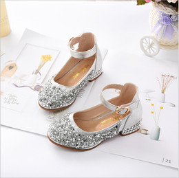 Sequin Girl Shoes NZ - Girls shoes Princess 2018 Spring New Korean Children High-heeled shoes Crystal Sequins Shoes Performance