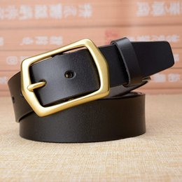 real solid leather mens belts 2019 - High quality genuine leather belt men Solid brass buckle real leather male straps causal jeans mens belts luxury drop sh