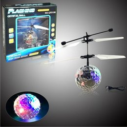 Wholesale Toys Helicopter NZ - RC Flying Ball,Flashing Toy,RC infrared Induction Helicopter Ball Built-in Shinning LED Lighting Colorful Flyings for Kid's birthday gifts