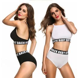 Two piece high waisT swimwear online shopping - New Pattern Fashion Two Piece Suits Swimwear For Women Sexy Swimsuit Lady High Waist Sport Style Bikini dd W