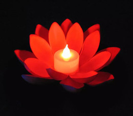 Floating Flowers candles online shopping - Popular Artificial LED Candle Floating Lotus Flower With Colorful Changed Lights For Birthday Wedding Party Decorations Supplies