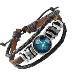 Chinese  Wholesale 12 Constellation Blown bracelet style Rivca loves friend couples bracelet summer leather for man jewelry constellation jewelry manufacturers