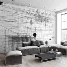 black white line painting 2019 - Custom Mural Wallpaper Black White Stripes Lines Abstract Art Wall Painting Living Room Sofa TV Backdrop 3D Photo Wall P
