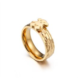 b0682005860 Stainless steel Cute Litter Bear Ring Female Rings New Fashion Silver Gold  Top Quality Ring Anillos Mujer