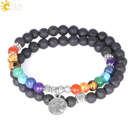 natural life jewelry Australia - CSJA Women 7 Chakra Meditation Jewelry Silver Beads Natural Lava Rock Stone Beaded Bracelets Multilayer Life Tree Charm Strand Bracelet E871