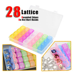 Equipment Storage Boxes Australia - 28 Nail Art Storage Box Translucent Nail Art Grids Compartment Plastic Nail Organizer Equipment Convenient Divided Drill Jewelry Tool