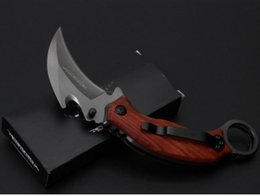 edc tactical pack NZ - Silver NEW Karambit X62 folding knife 3cr13MOV blade steel wood handle 57HRC gray titanium surface black gift box packing claw EDC tool