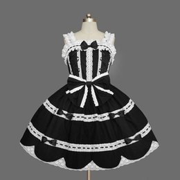 girls medieval dresses 2019 - Medieval Sweet Lolita OP Dresses Halloween Black and White Sleeveless Cotton Cosplay Costume For Girl Drop Shipping disc