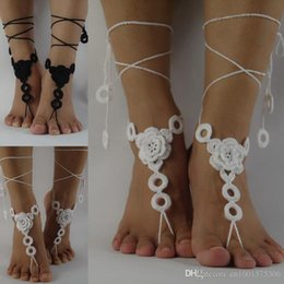 Discount nude beach jewelry - White Crochet Barefoot Sandals, Nude shoes, cotton Jewelry, Beach Wedding Sexy Anklet , Bellydance,Beach Footwear Custom