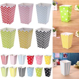 PoPcorn bags boxes online shopping - Wave Circles Pattern Folding Candy Popcorn paper Boxes Birthday Party Wedding Candy Sanck Favor Bags Paper Chritmas gift GGA425
