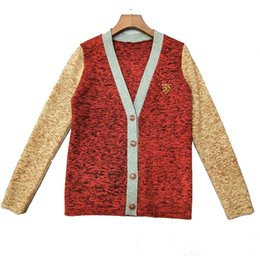 a950c19c3b0bfb 18 Autumn And Winter New Pattern Embroidery Tiger Head Color Knitting  Cardigan Loose Coat Woman Tops