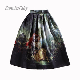 royal oil paintings 2019 - BunniesFairy 50s Princess Royal Vintage Retro Fantasy Oil Painting Floral Print High Waist Midi Skirt Full Circle Saia F