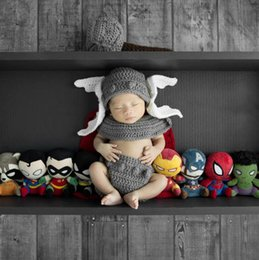 Crochet Home Australia - Baby Boy Cartoon Photo Props New Style Baby Crochet Photography Props Newborn Coming Home Outfits 1 set