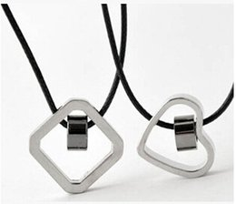 Discount valentine pendants couple - Square Heart Necklaces & Pendants for Men and Women Heart and Square Paired Pendant Valentines Day Gift Couple Necklace