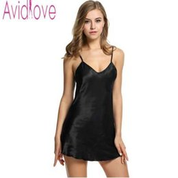 7367b10061 Avidlove Stain Nightgown Women Slik Sleepwear Sexy Night Dress V Neck Strap  Solid Nightwear Sleep Dress Female Home Clothes