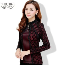 Wholesale long sleeve fall floral blouse resale online - New Fall Fashion Ladies Lace Blouse Plus Size Long Sleeve Female Chiffon Lace Tops Women Clothes S XL Women Shirts G
