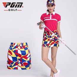 Discount ladies leisure clothing - 2018 PGM Lady Golf Clothing women Summer Breathable Slim sport skirt Leisure Sports Printed skirt for women Plus size XS