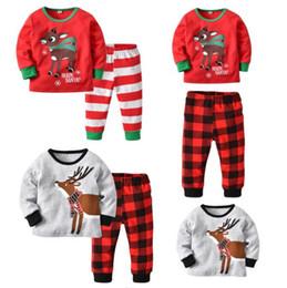 Organic Baby T Shirts Wholesale NZ - Christmas Infant Baby Kids Pajama Striped Plaid T shirt + Pants trousers sets Xmas Fall Suits Santa Claus Elk Deer Printed Sleepwear Outfits