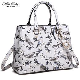 Tote Bags Compartments Canada - Miss Lulu Women Handbags Ladies Designer Vintage Shoulder Bags Flower Bird Multi Compartments Female Top-handle Tote LT1755