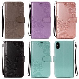 Dandelion Case Australia - Lotus Flower Lace Leather Wallet Case For IPhone XS MAX XR X 8 7 6S SE 5S Touch 6 5 Floral Stylish Flip Cover Butterfly Dandelion Emboss