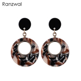 Ranzwal Personalized Women Dangle Earrings Fashion Acrylic Circle Drop Earrings Female Accessories Gift AER102