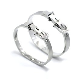 China FYSARA Brand Couple Jewelry Stainless Steel Wrist Buckle Belt Bracelet Bangle for Women Men Love Cuff Bracelet Punk Black Bangle cheap belt buckle bracelet for men suppliers