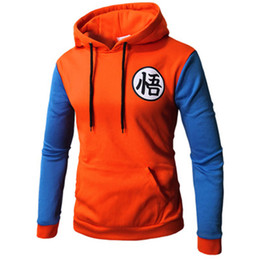 Wholesale Japan Dragon Ball Men Sweatshirt D Cartoon Cosplay Print US Teens Hooded Hoody Unisex cute red blue Patchwork pocket Spring Casual hoodies