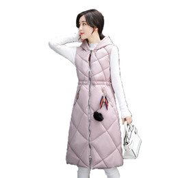 Design Women Hooded Coat Canada - KUYOMENS Women Winter Vest Waistcoat With Hooded 2017 Fashion Design Long Vest Female Cotton Warm Sleeveless Jacket Coat Women's