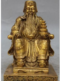 "free drawing art UK - free 10"" China Bronze Wealth Yuanbao Land Hand holding Ruyi Sitting in a chair Statue fast"