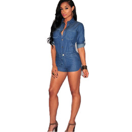 denim jumpsuits sale NZ - Denim Jumpsuits Women Summer Shorts Jumpsuit Outerwear Button Fly Turn-down Jeans Playsuits Famale Hot Sale Rompers Ladies