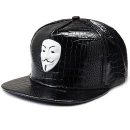 018bfdc93c205 PU Leather V for Vendette Baseball Cap V Mask Snapback Adjustable Hip Hop  Bboy DJ MC Rapper Dancer Men Women Cap