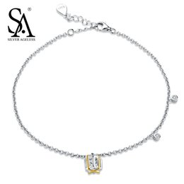 $enCountryForm.capitalKeyWord Canada - SILVER AGELESS 925 Sterling Silver Hollow Cube Anklets for Women Gold Color Charms Foot Chain Adjustable Anklet Bracelet Gift