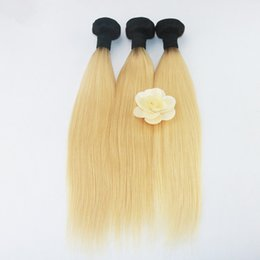 $enCountryForm.capitalKeyWord UK - ELLIBESS Hair-Ombre Color 1B 613 Human Hair Bundles 100g bundle 3 bundles  lot Two Tones Blonde Color With Black Root Human Hair
