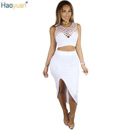 4fb06f1398a HAOYUAN Autumn Sexy 2 Piece Skirt Set Bodycon Sleeveless Crop Top And Skirt  Set Women Summer Outfits Night Club Two Piece Set D1892502