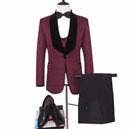 Plus Size Clothing For Weddings UK - Dark Red Groom Tuxedos for Man clothes Dark Red man blazer as Wedding Suit Printed Groomsman Suit Custom Made Man Suit (Jacket+pants+vest)
