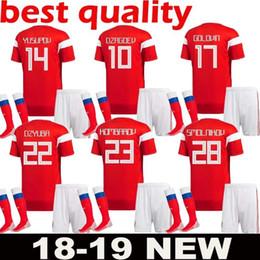 1b6515e72 2018 World cup Russia adult Kits Soccer Jersey 18 men Russian Home red  DZAGOEV KOKORIN GLUSHAKOV KUZIAEV ZHIRKOV Football uniforms Shirts