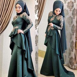 black peplum t shirt 2019 - 2019 Hot Sale Muslim Prom Dresses Lone Sleeve Gold Appliques Ruffles Peplum Evening Gowns Satin Sweep Train Formal Dress
