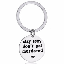 resin keychain UK - 12PC Lot Stainless Steel Murder Keychain Stay Sexy Don't Get Murdered Keyring For Best Friends Murderino Gifts Key Chains Rings