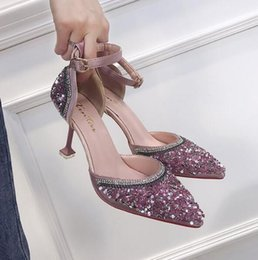 13a511aab23e 2018 new high quality woman fashion Baotou rhinestone sequin small fresh  cat with 8cm high heels sweet girl tip personality with pumps
