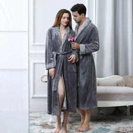 Underwear & Sleepwears Efficient Women Men Thick Warm Long Flannel Bathrobe Big Size Kimono Bath Robe Winter Female Male Dressing Gown Bridesmaid Robes Solid Xl Robes
