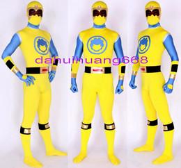 Blue Suit Halloween Australia - New Yellow Blue Lycra Spandex Superhero Suit Catsuit Costumes Unisex Fantasy Super Hero Bodysuit Costumes Halloween Cosplay Costumes DH164