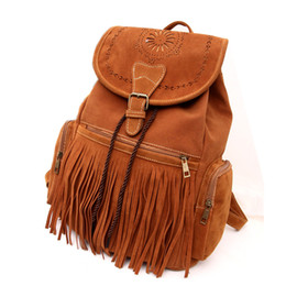 China 2015 Autumn & winter ladies Brown Fringed Backpack PU Leather Casual Vintage String Drawstring Bag Tassel Laptop Soft Backpack cheap ladies leather fringed bags suppliers