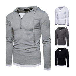 $enCountryForm.capitalKeyWord Canada - 2018 spring fashion trend of the new V-neck collar sweater Men's hooded long-sleeved personality stitching T-shirt