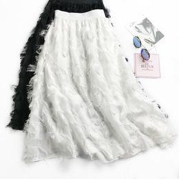 c1c0c49c0f 2018 saias de chiffon saia de busto de pena borla de cintura alta han  edição de longo feminino posou a coringa joker de saia