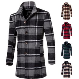 China 2016 fashion young mens tartan clothing long boy slim coat jacket autumn winter overcoat for male fashion lady warm woolen coats supplier ladies woolen clothes suppliers