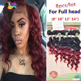 Burgundy Wavy Hair Australia - Fast Shipping 1B 27 Ombre Burgundy Deep Curly Indian Malaysian Unprocessed Human Hair Bundles 8pcs Lot Wavy Hair Extensions Weft UK