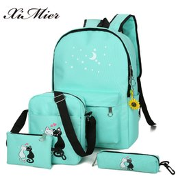 Backpacks For Girls Canada - XIMIER 5Pcs set Canvas Women Backpacks Schoolbag Printing Cute Cat School Bag Backpack For Teenager Girls Green Rucksack Moclila