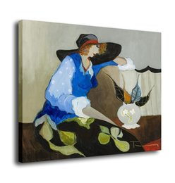Paintings Vases UK - Cartoon Art A Woman And Vase,Oil Painting Reproduction High Quality Giclee Print on Canvas Modern Home Art Decor E065