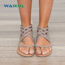 $enCountryForm.capitalKeyWord Canada - Waikol Plus Size 34-43 Flats Summer Women's Sandals New Fashion Casual Shoes For Woman European Rome Sandalias Flip Flops