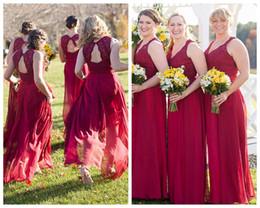 Lace Chiffon Burgundy Bridesmaid Dress Australia - Burgundy Bridesmaid Dresses A Line V Neck Cap Sleeve Backless Floor Length Chiffon Lace Vestidos De Maid Of Honor Dresses For Wedding Guest